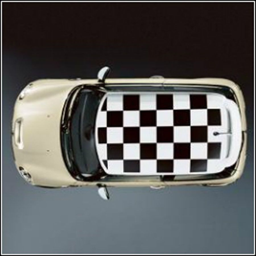 Roof Decor Checkered Flag White For Black Or Body Colored Roofs For Mini Cooper S 2002 2014 51140140185 Checkered Flag Body Colour Checkered