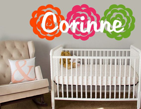 Name Wall Decal w/ Flowers  Rose Wall Sticker by JensVinylDecals, $20.99