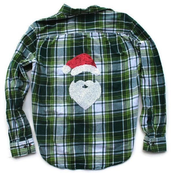 8d61f2903bc Christmas Flannel Shirt Santa Flannel Shirt Funny Holiday Shirt Ugly...  ( 60) ❤ liked on Polyvore featuring tops