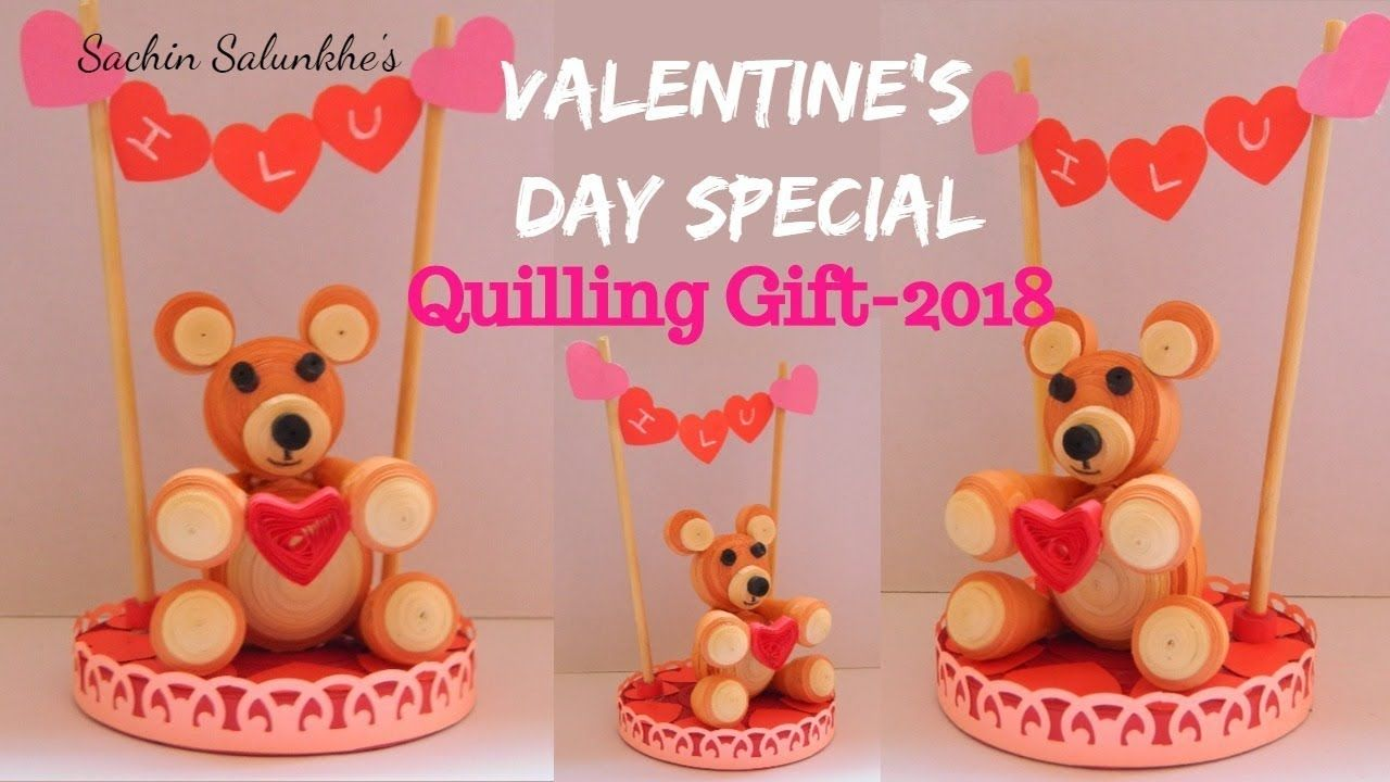 Quilling wedding decorations october 2018 Diy Valentineus day Special quilling gift ideas   Quilled Teddy