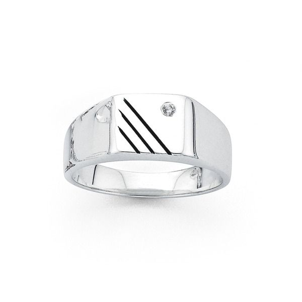 Silver Cubic Zirconia Boys Signet Ring Rings Prouds