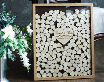 Guest Book Wedding Alternative Personalized Drop Box Hearts Guestbook Unique Heart