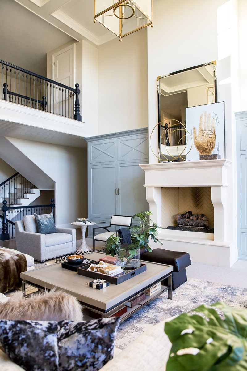 Beautiful Exterior Home Design Trends: French Country Blue Built Ins. Oversized Wood Fireplace