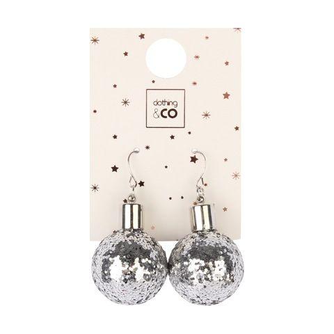 86290e65c3ec9 Bauble Glitter Earrings - Silver Look | Kmart | jewellery ...