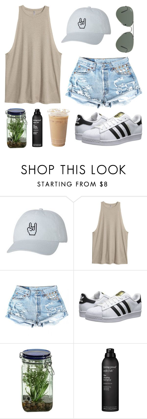 """""""Untitled #42"""" by ttaylxr ❤ liked on Polyvore featuring adidas Originals, Alöe, Living Proof and Ray-Ban"""