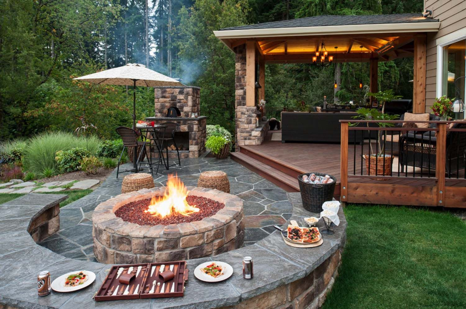 Garden fire features   Incredibly inspiring contemporary deck ideas with fire features