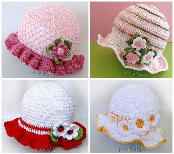 Crochet pattern - 4 baby girl hat patterns! Summer baby hat crochet ...