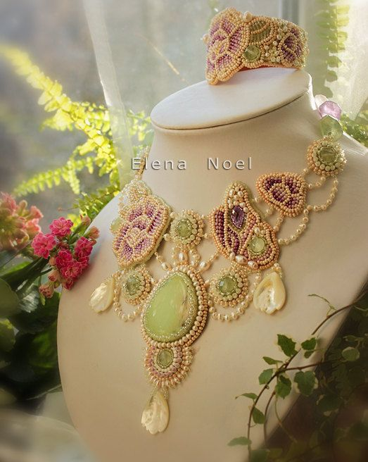 Necklace Butterfly in the rose garden Necklace by JewelryElenNoel, $498.00