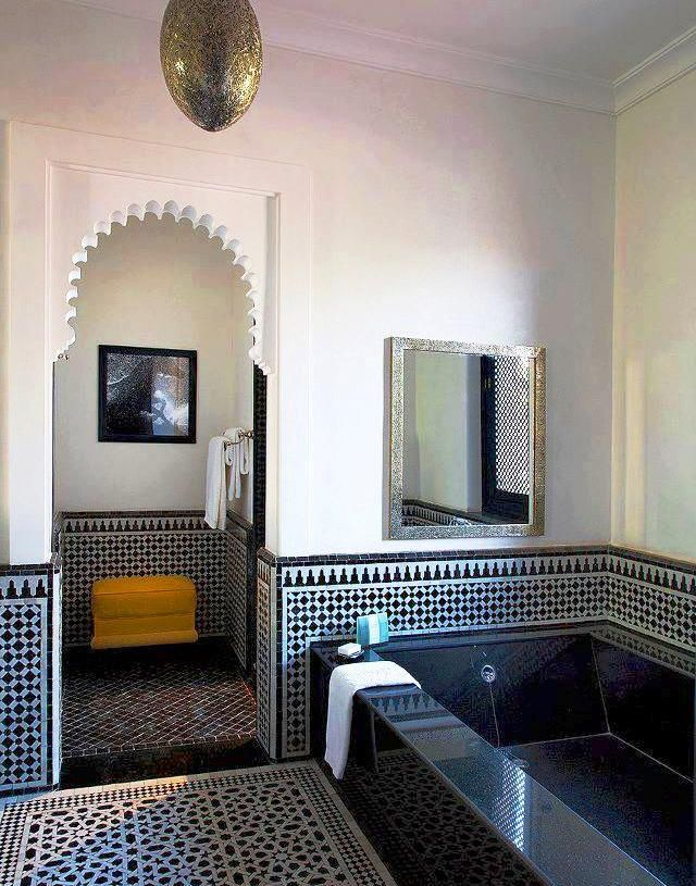 Moroccan Bathroom  W C  Pinterest  Moroccan Bathroom Morocco Magnificent Moroccan Tile Bathroom Design Review