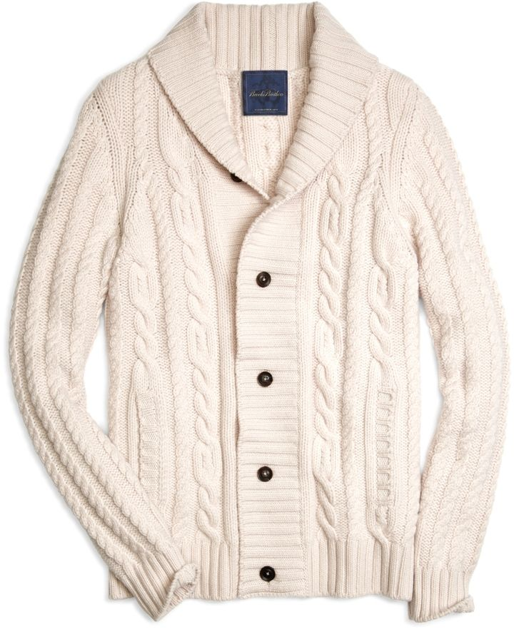 $1,498, Brooks Brothers Cashmere Large Cable Cardigan | Mens
