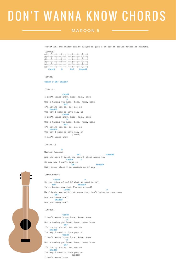 Dont Wanna Know Chords Lyrics Maroon 5 Guitar Ukulele Chords