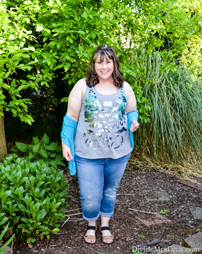 Hailey is celebrating her birthday with laid back sparkle in the Lane Bryant Double-Scoop Tank, SWAK Designs Amber Shrug, Catherines Girlfriend Jean, and REVsun Sandal from Cobb Hill by New Balance. - DivineMrsDiva.com #lanebryant #lanestyle #cobbhill #newbalance #catherines #catherinesplus #catherinesstyle #swakdesigns #myswakstyle #psblogger #plussizeblogger #styleblogger #plussizefashion #plussize #psootd #ootd #plussizeclothing #outfit #spring #summer #style #denim #plussizecasual