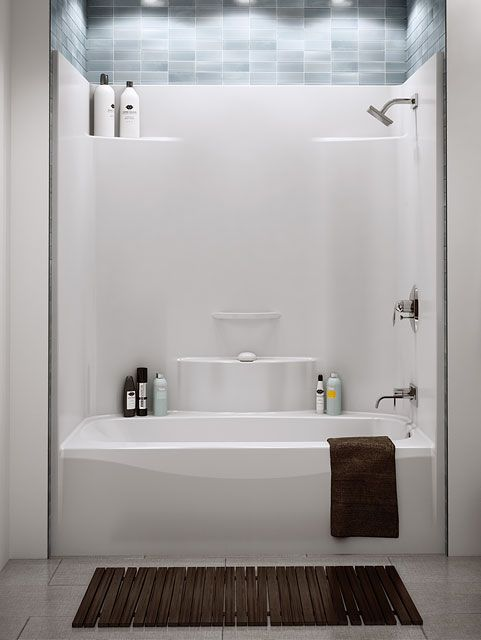 Acrylic Tub Shower Units. It s been so difficult to find an attractive one piece acrylic or  fiberglass tub shower enclosure Love the storage in this unit FINALLY