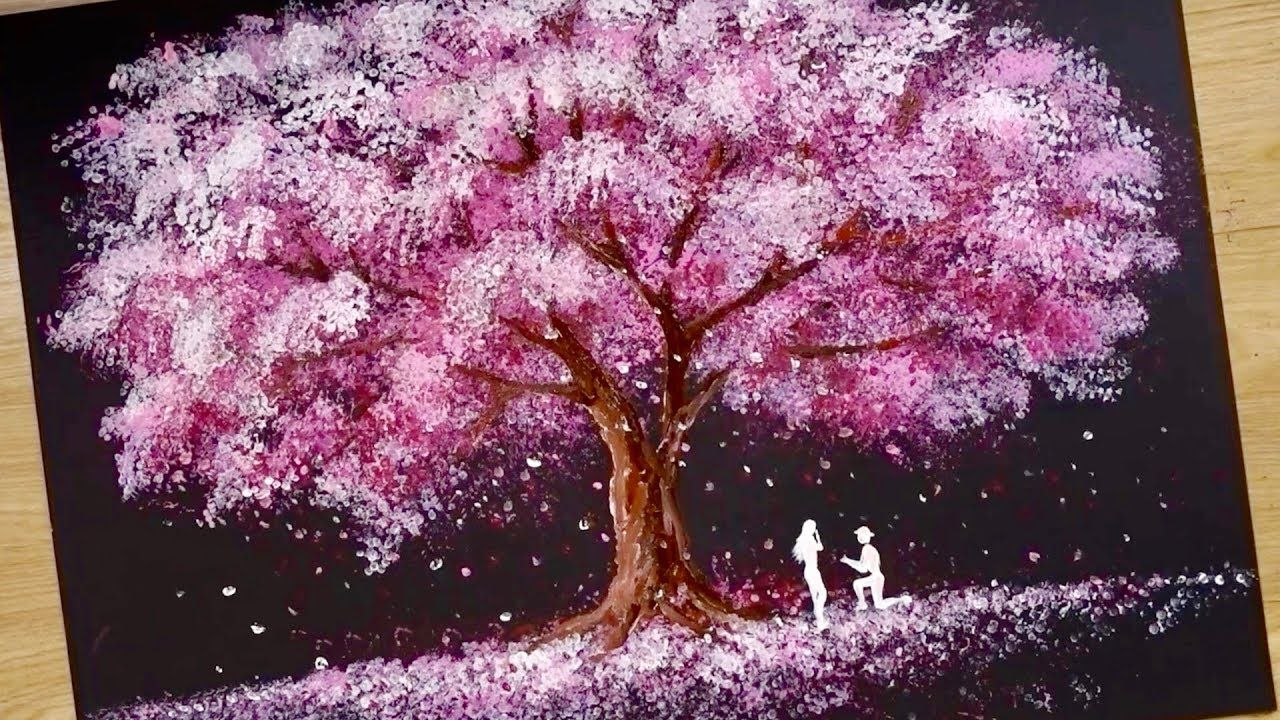 Bath Sponge Q Tips Painting Technique How To Draw Romantic Couple Be Q Tip Painting Romantic Couples Cherry Blossom Painting