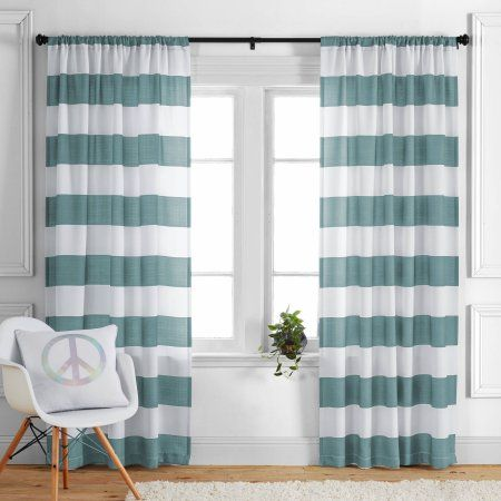 Kids And Teens Stripes Single Curtain Panel By Better Homes And Gardens Walmart Com Striped Curtains Panel Curtains Brown Living Room
