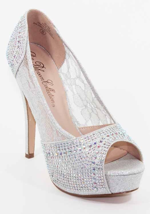 037e763459d8 Wedding Tails Shoes · Wedding Slippers · Fashionaras.Com - De Blossom  Vice-140 Silver Lace Peep Toe High Heels
