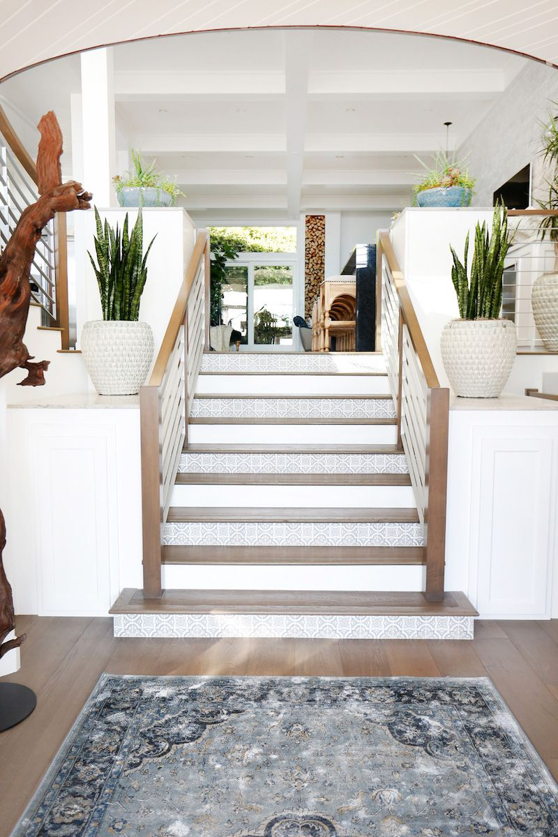 Beautiful #staircase design with tiled risers and sleek railings