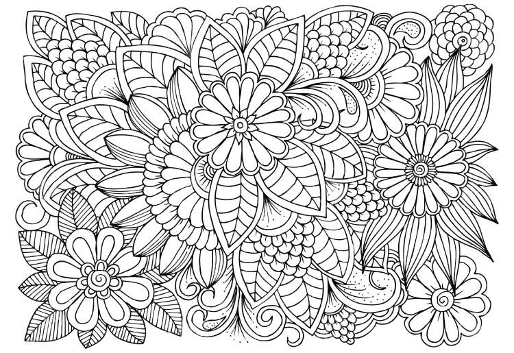 Therapeutic Coloring Pages Printable For Adults With Medium Size Pattern Coloring  Pages, Floral Drawing, Coloring Pages