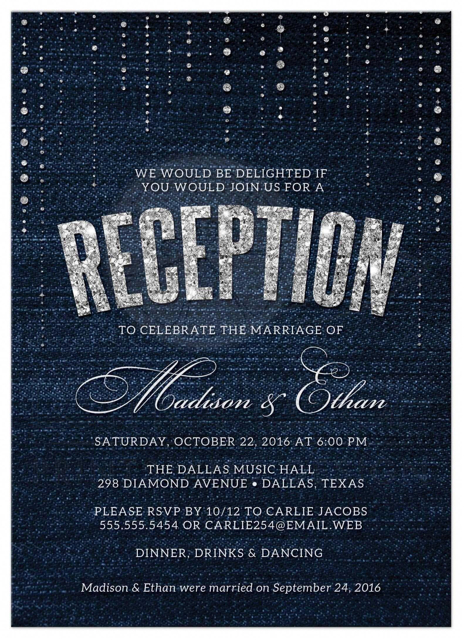 Post Wedding Reception Only Invitations Denim & Diamonds