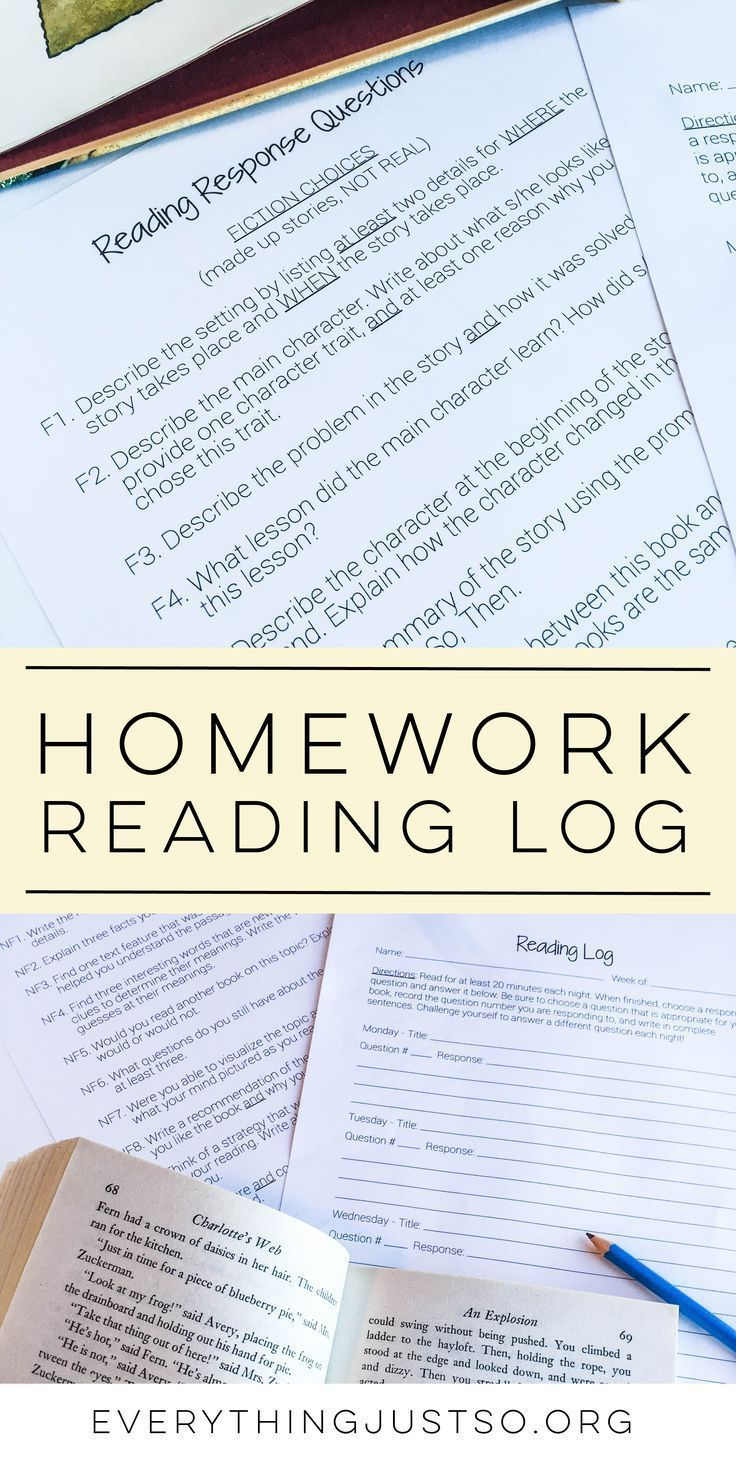 Homework Reading Log The