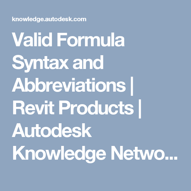 Valid Formula Syntax and Abbreviations | Revit Products | Autodesk