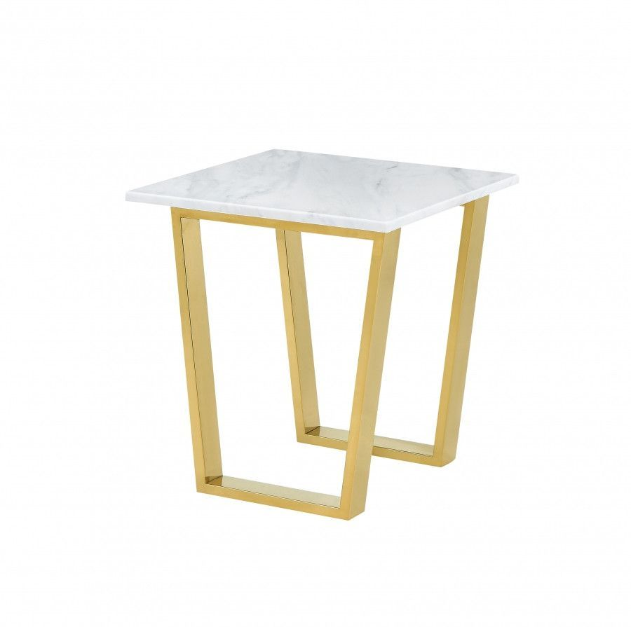 Cameron Gold End Table Genuine Marble Top Marble Top Stainless - Genuine marble coffee table