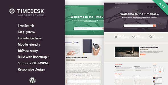 TimeDesk - Responsive Knowledge Base FAQ WordPress Theme | Wordpress ...