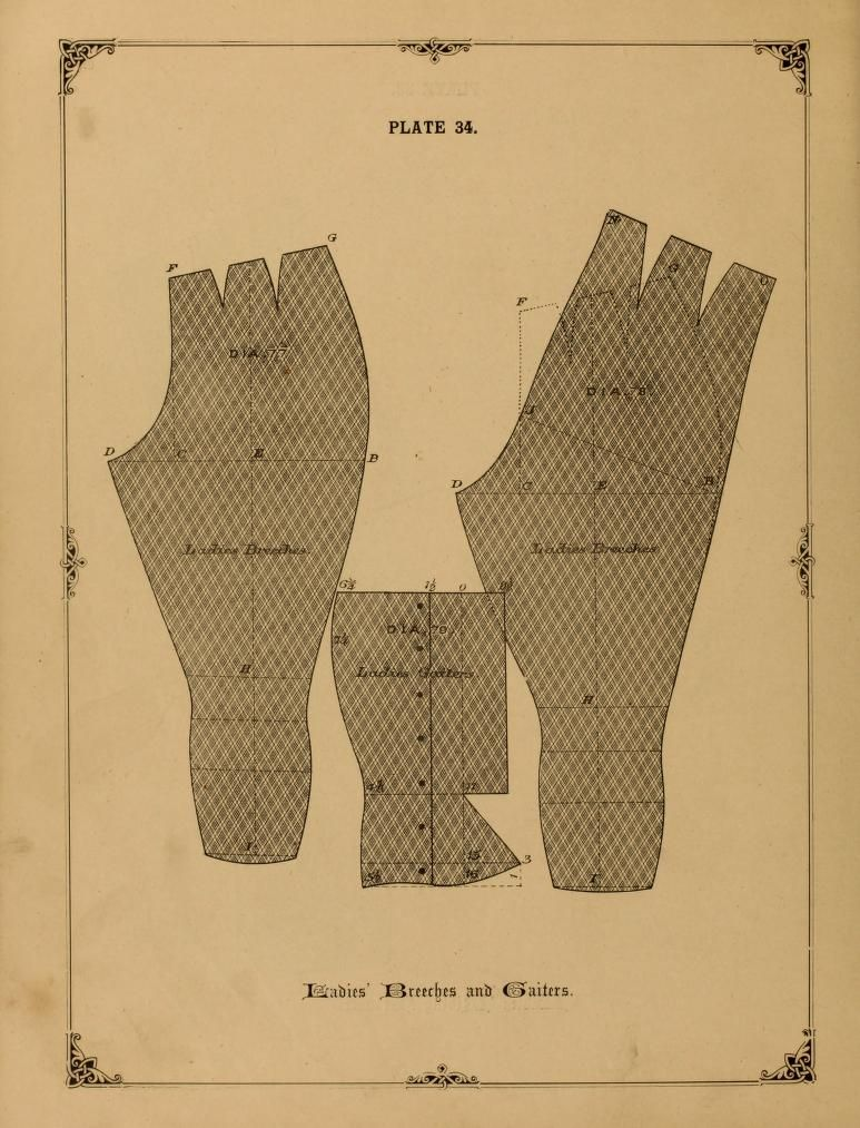 Ladies breeches and gaiters. 1890 - 1892 The cutters' practical guide to the cutting of ladies' garments by Vincent, W. D. F.
