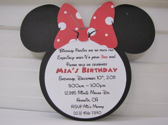 Minnie Mouse Invites With Number On Back By