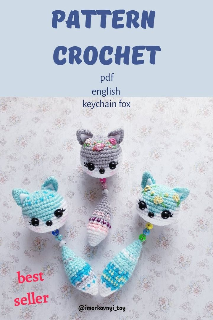 PDF easy pattern of a crochet animals keychain in the form of a fox or cat Decor you bag Handmade