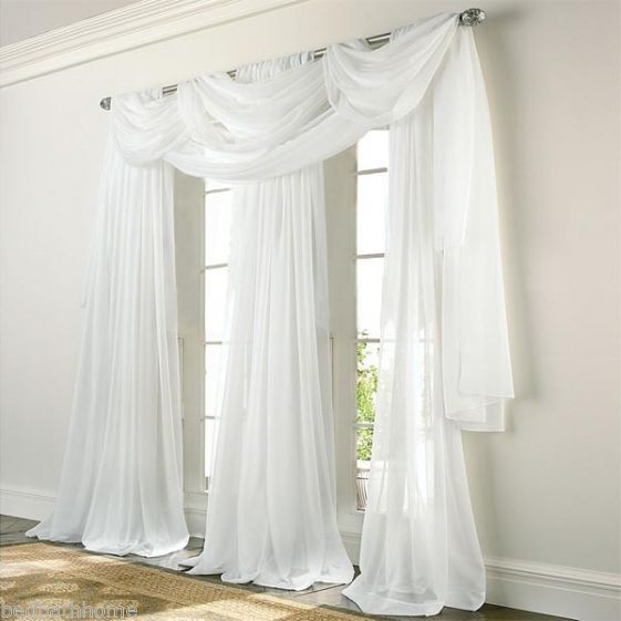 New Elegance Voile White Sheer Curtain Panels Or Scarf White