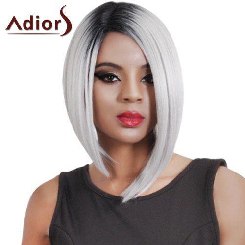 Charming Risco ao Lado Curto Preto Ombre cinzento prateado peruca sintética reta para Mulheres