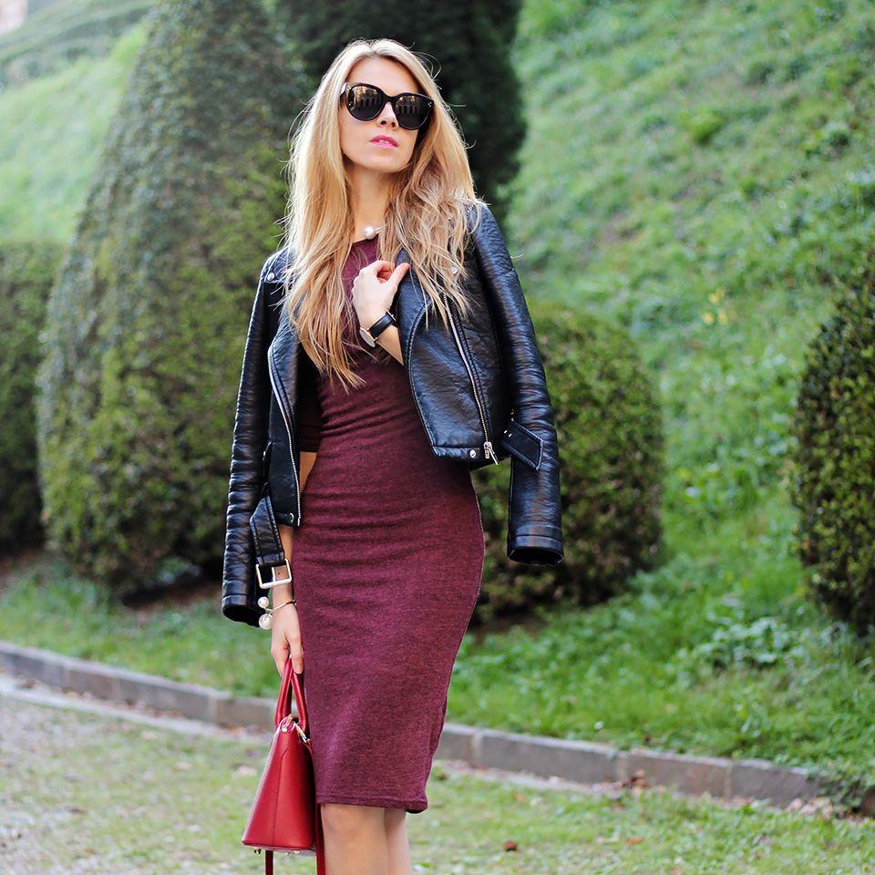 Karamode Fashion Blog By Karolina Jo Bodycon Bodycon Outfits Fashion Burgundy Bodycon Dress [ 960 x 960 Pixel ]