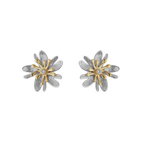 These Sterling Silver Gold Edelweiss Flower Stud Earrings Are A Beautiful Touch For Any Outfit