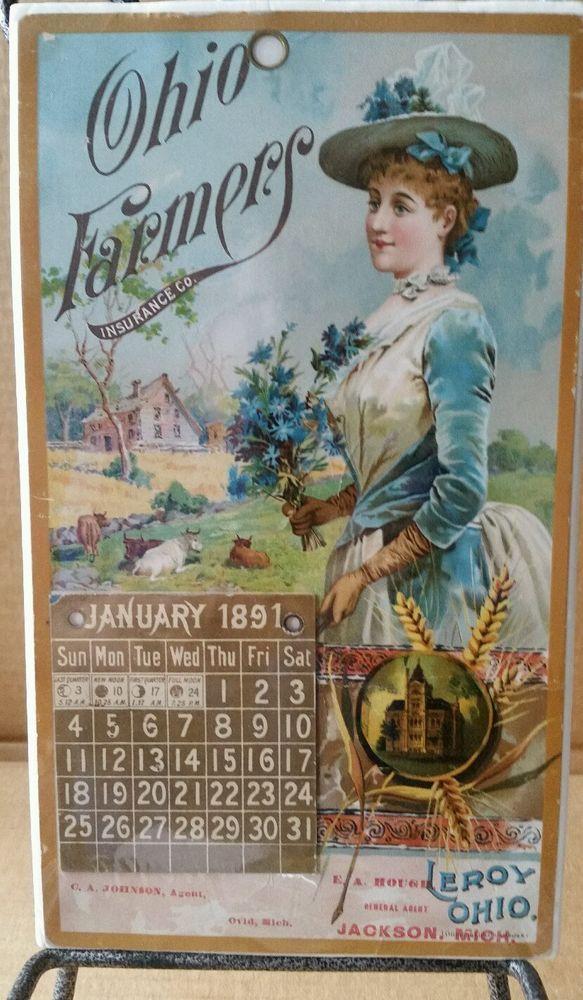 BEAUTIFUL 1891 OHIO FARMERS INSURANCE CO CALENDAR LEROY