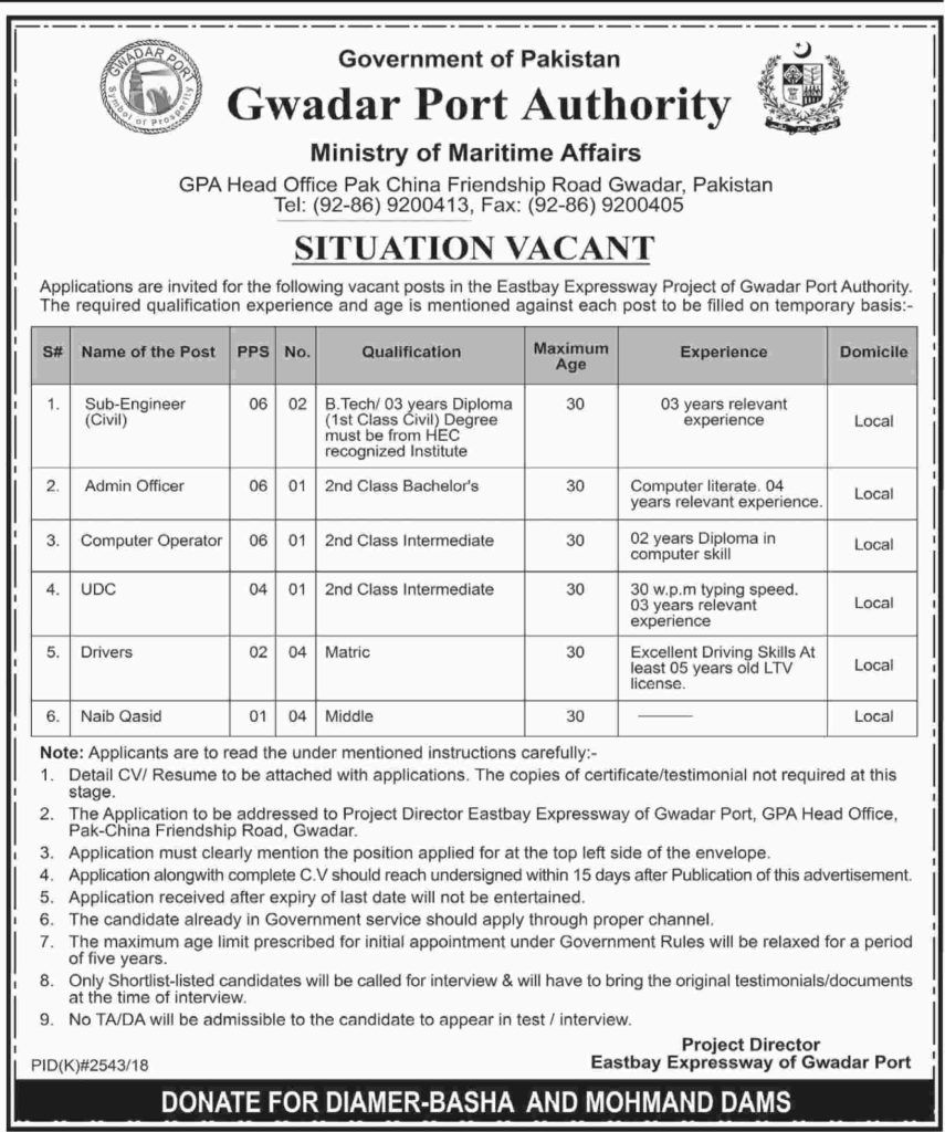 Gwadar Port Authority Jobs GPA Ministry of Maritime Affairs | Jobs