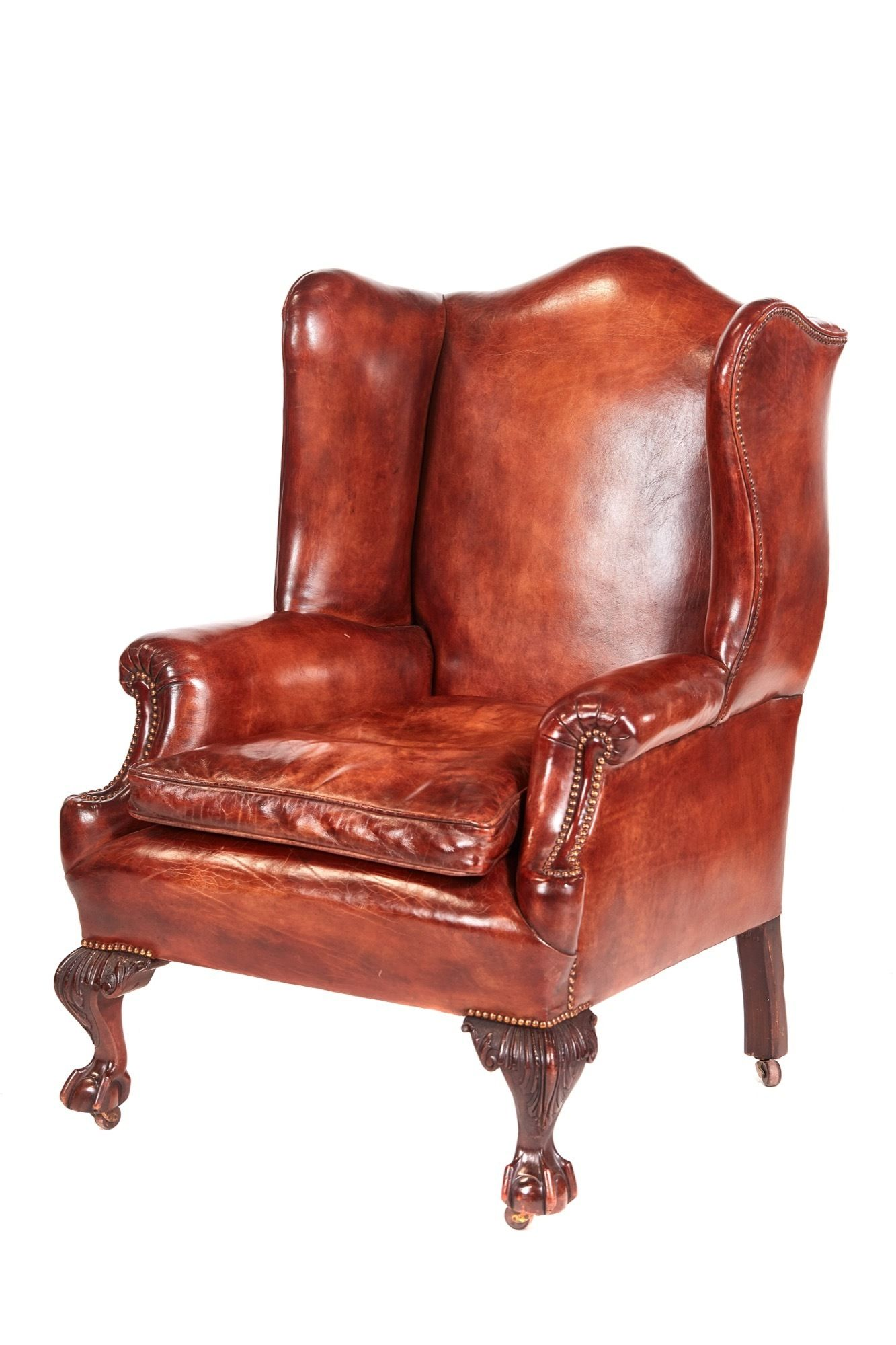 Antique leather wing back library chair in 2020 leather