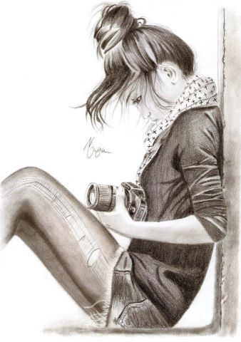 You notice her sitting down on the sidewalk fiddling with for How to draw a girl looking down