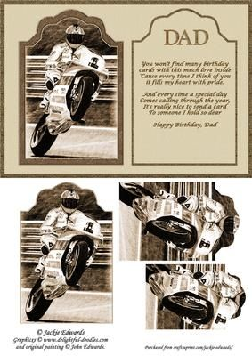 Motorcycle Racer and Verse on Craftsuprint designed by Jackie Edwards - A lovely male themed card for Dad. Pyramid elements. Verse. - Now available for download!