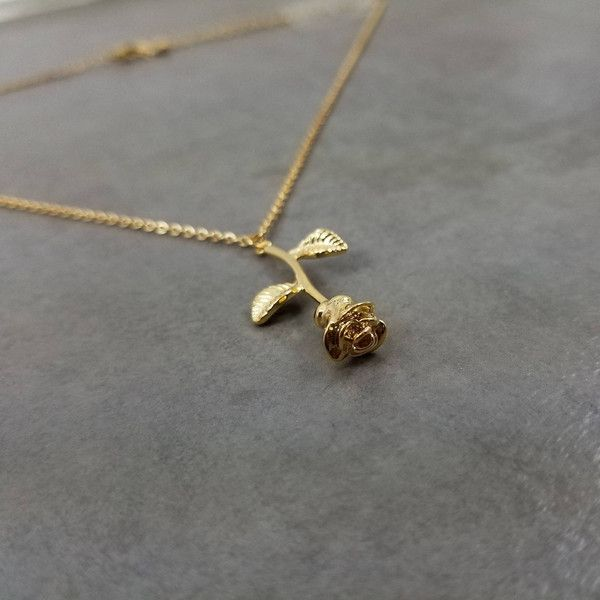 Rose Flower Gold Plated Necklace In Gift Box Floral Garden Bouquet 13 Liked On Polyvore Featuring Je Silver Necklace Prom Silver Necklace Set Jewelry