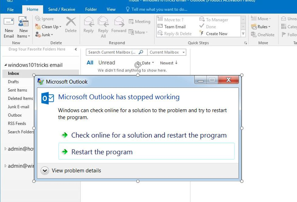 Solved: Microsoft outlook not responding Freezes on windows 10 | How