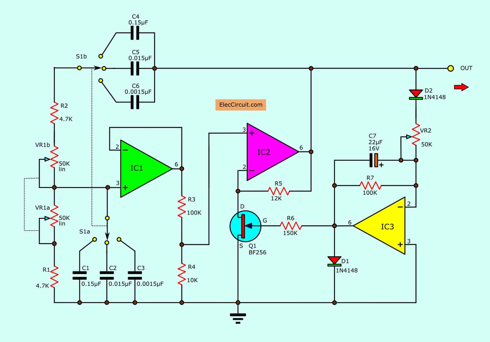Wien Bridge Oscillator Circuits Using Op Amp And Fet Eleccircuit Com Circuit Circuit Projects Electronic Circuit Projects