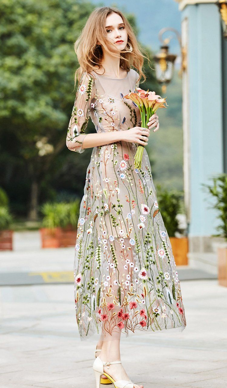 Bohemian Sheer Mesh Embroidery Overlay Long Dress Silhouette  A-Line  Material  Polyester e5f044701