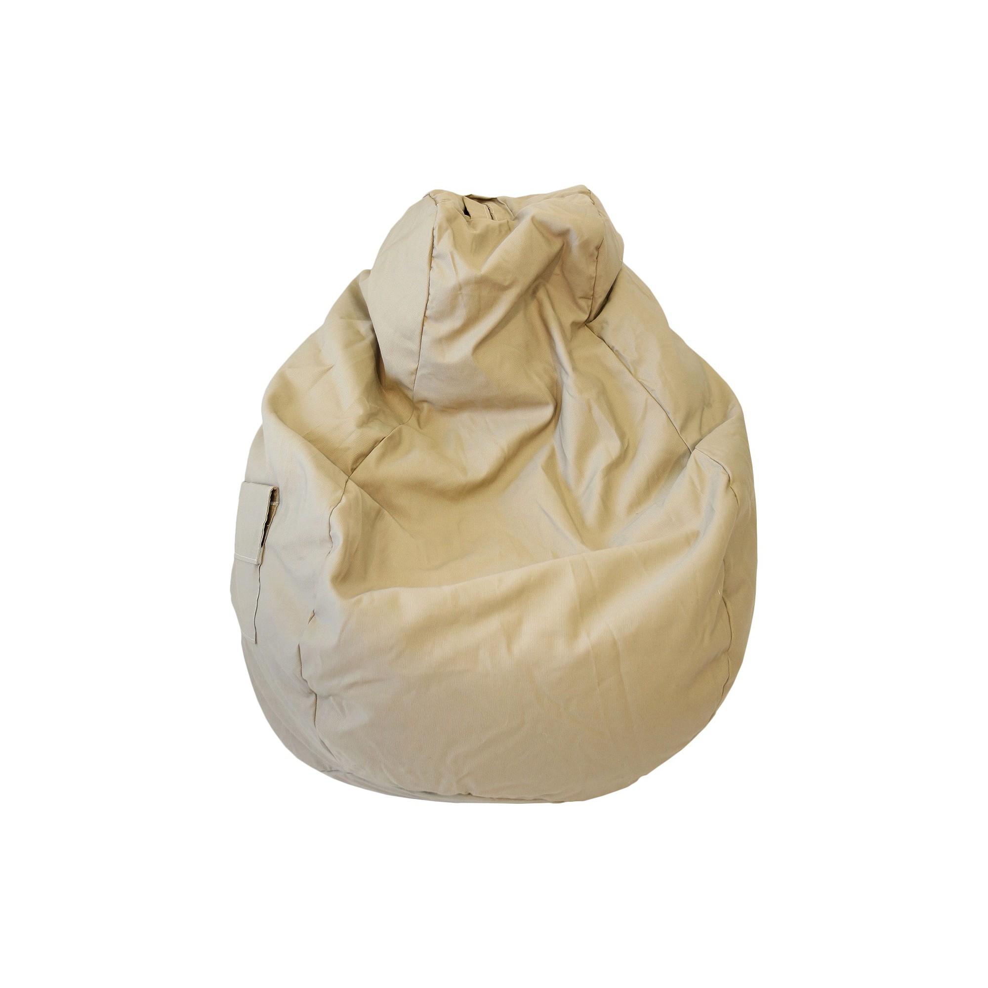 Gold Medal Cotton Large Tear Drop Demin Look Bean Bag with Pocket - Khaki, True Khaki