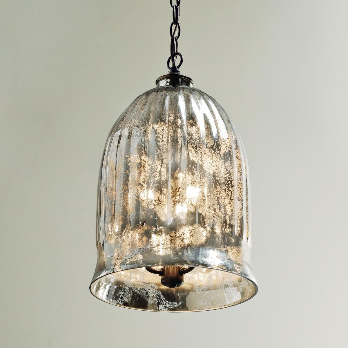 Antique Mirror Bell Pendant Lantern