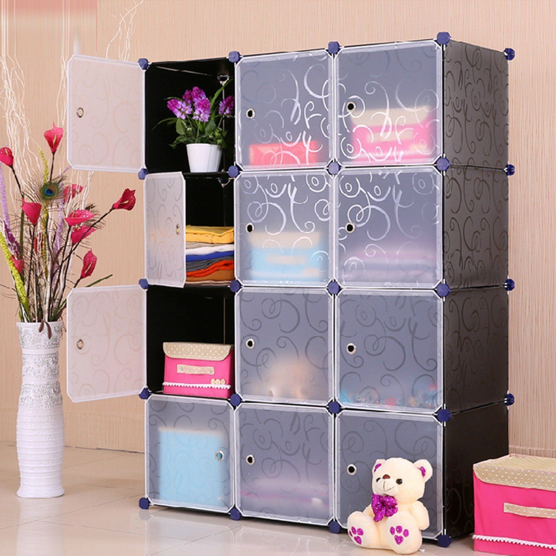 Amazon Com Unicoo Multi Use Diy Plastic 12 Cube Organizer Bookcase Storage Cabinet Wardrobe Closet Black With White Door Deeper Cube