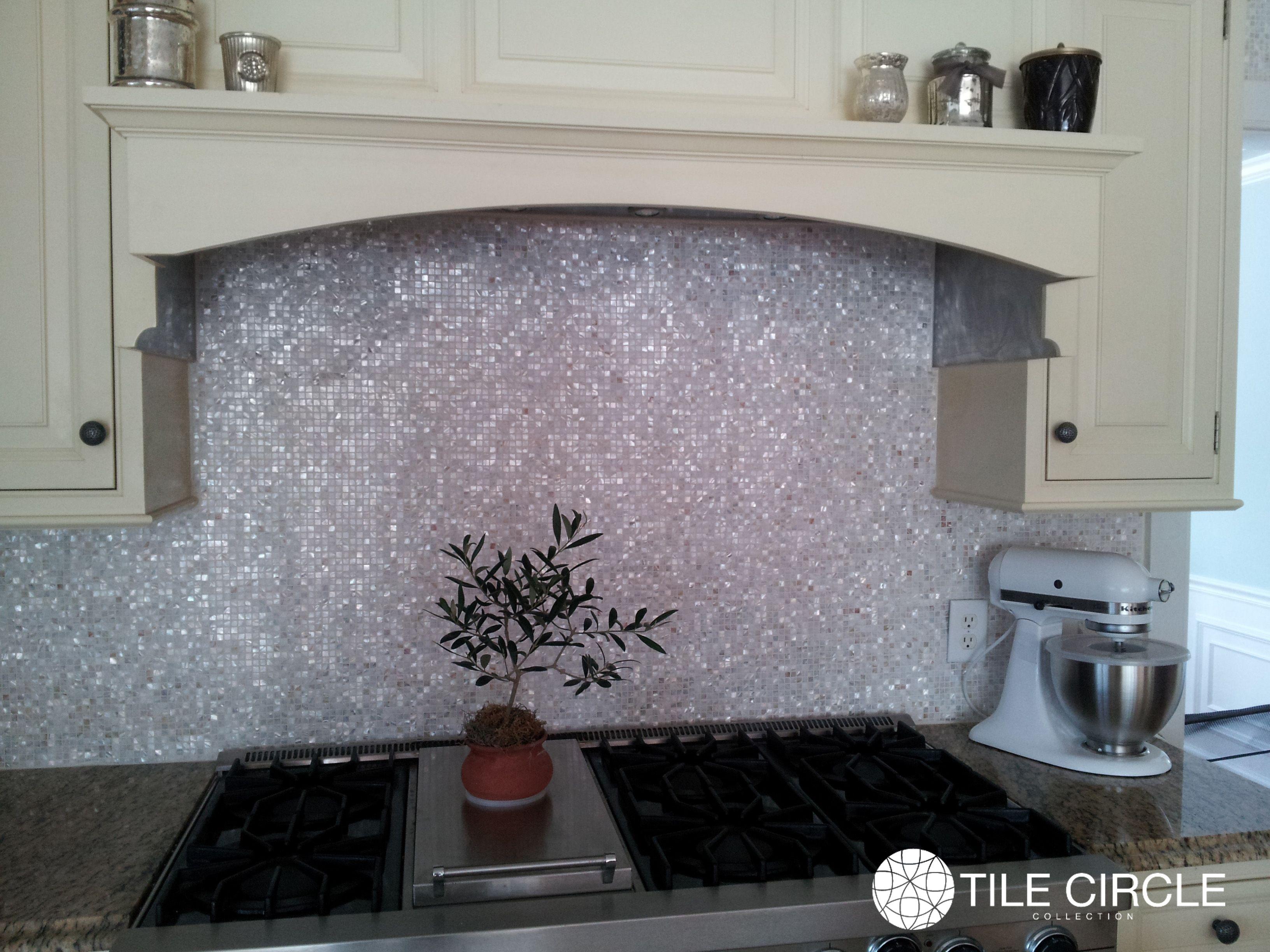 Beautiful Backsplash Using Micro Mosaic Mother Pearl Tile Circle Available Onlin