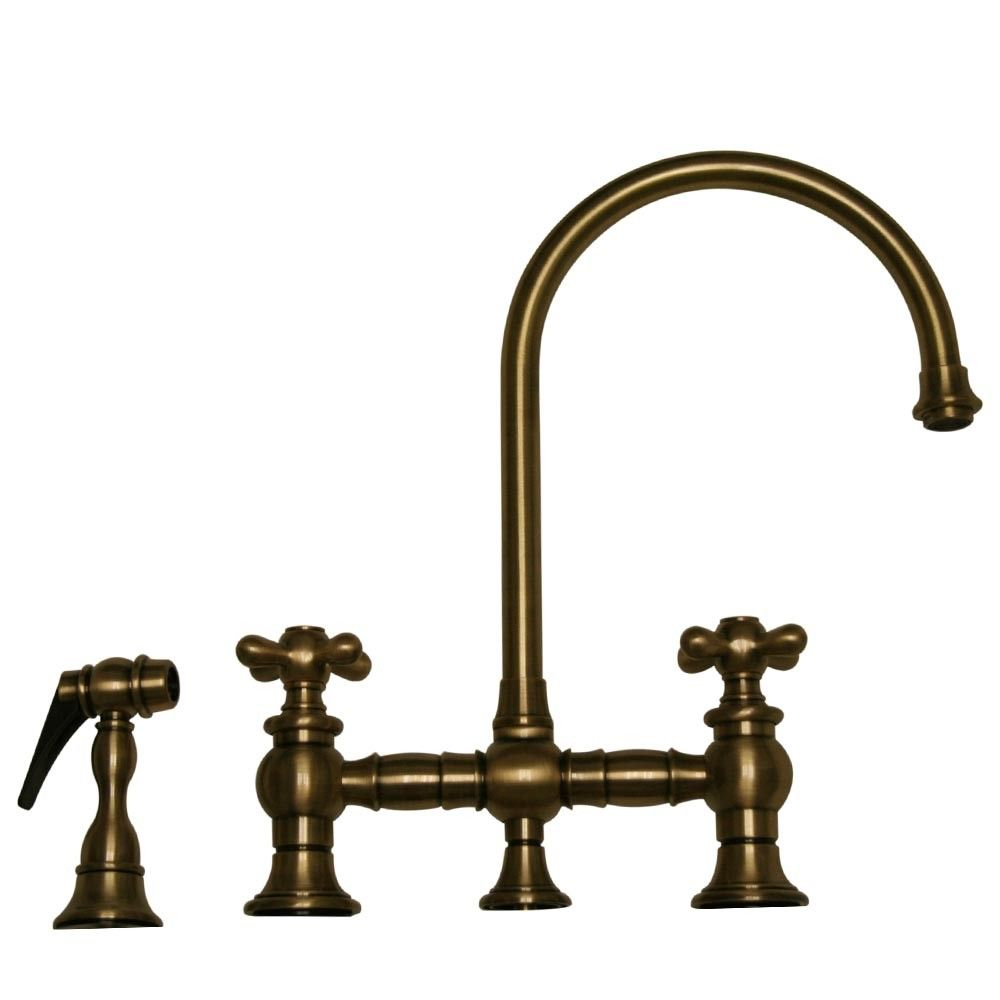 Good Whitehaus Vintage III Bridge Style Kitchen Sink Faucet With Side Spray    Cross Handles