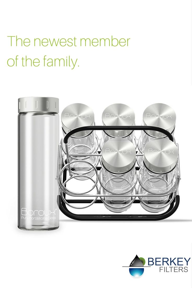 Boroux glass water bottles are perfect for storing your freshly filtered Berkey water in the refrigerator. Always have a cold bottle of water ready to go!
