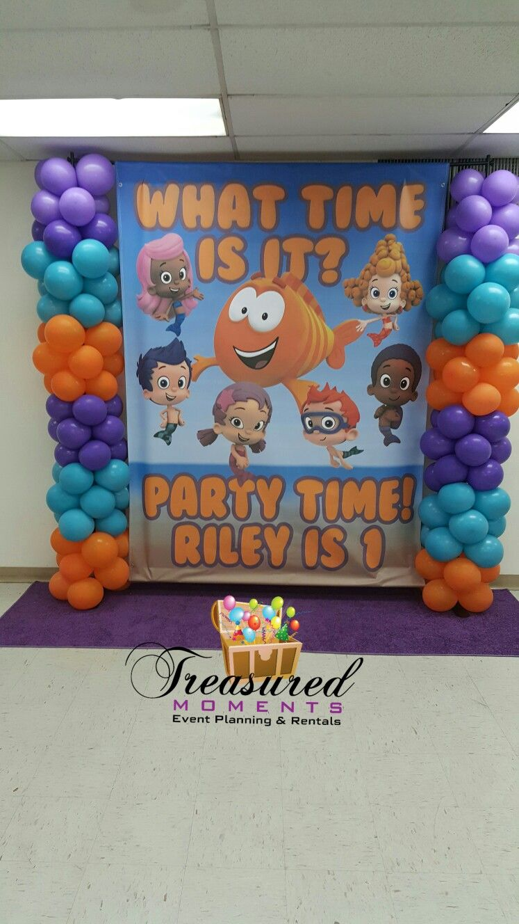 Rileys 1st Birthday Bubble Guppies Theme Banner Carpet And Balloon Col Bubble Guppies Birthday Party Bubble Guppies Themed Birthday Party Bubble Guppies Party